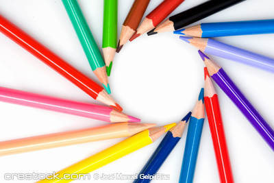Many pencils forming a circle on a over white ...