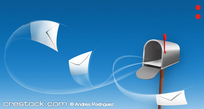 envelopes around a mailbox isolated over blue