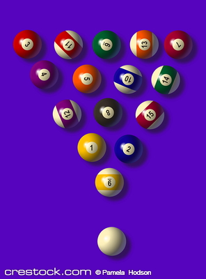 set of pool balls against a blue background